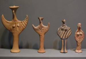 "Clay figurines of the ""Phi"" and ""Psi"" types. From the settlement at ""Palaea"" and from its necropolis at Nea Ionia. Late Bronze Age or Mycenaean Period 16th-11th c. B.C."